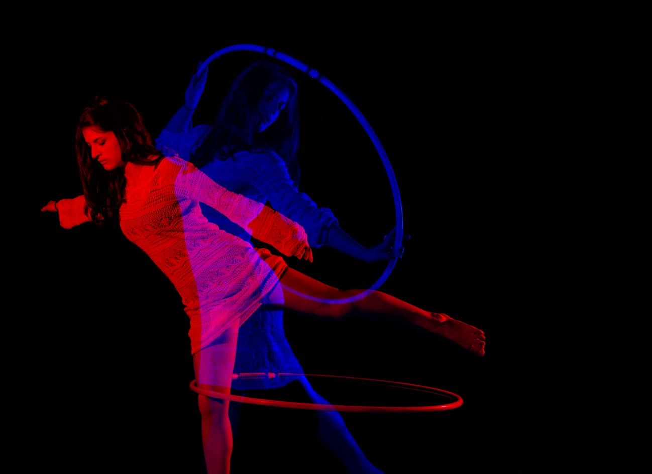 double exposure, hooping, red and blue